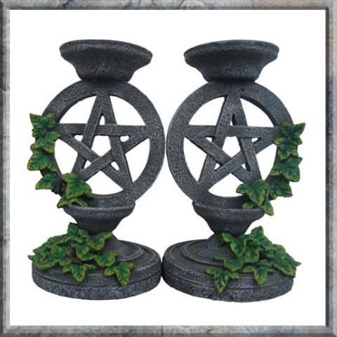 Candle Holders~Pagan Ivy Pentagram Wicca Candle Stick Holders Pair Aged Effect~NEM5177